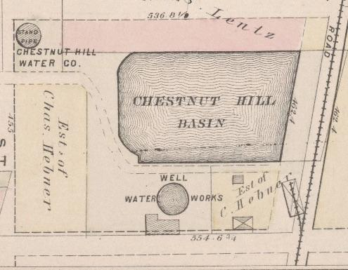 The water basin and tower as depicted on a map from 1876. (Hopkins, City Atlas of Philadelphia: Volume 1, Plate C, Map Collection.)